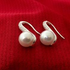 Bông tai ngọc trai màu trắng đeo sát tai 100% bạc cao cấp BQTJ26-196 trang sức Bạc QTJ (TRẮNG)