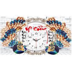 Tranh thêu chữ thập đồng hồ chim công vợ chồng X8139-Bộ sản phẩm gồm: Kit, chat (cuốn hướng dẫn thêu), chỉ thêu cao cấp, kéo và kim. Ngocthinhshop
