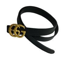 Thắt lưng nữ mặt GG rắn mạ vàng độc lạ chất liệu da cao cấp (mà đen, size vừa)