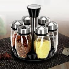 Bộ 6 lọ đựng gia vị thủy tinh kèm giá để xoay 360 độ Spice Ack Set