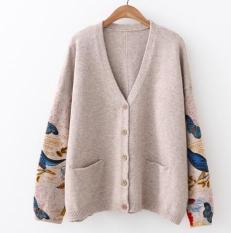 Áo khoác len nữ hình đa hoạ tiết bên tay áo form dài LTTA2208 (Màu kaki) BEAUTYSALES