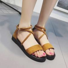 Giày sandal nhung ngang dây chéo cổ chân