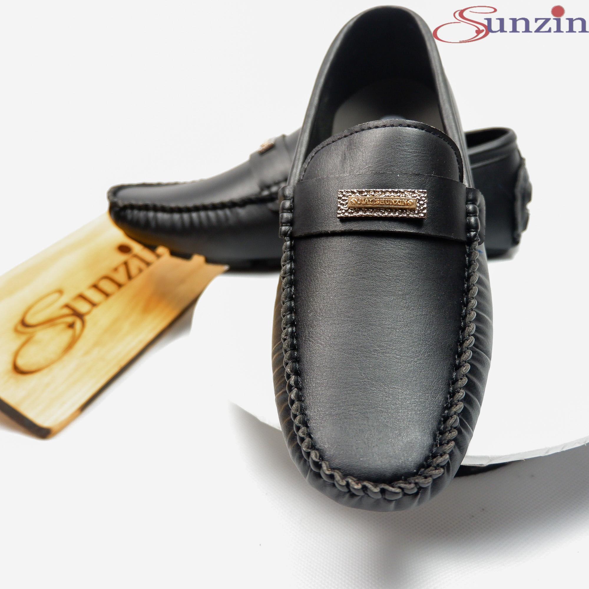 Sunzin.HCM Free từ 99k-Giày da không dây kiểu giày lười da trơn - Giày nam VL160trơn - Giày da PU...