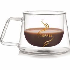 Cốc cà phê giữ nhiệt thủy tinh 2 lớp 200 ml có quai cầm