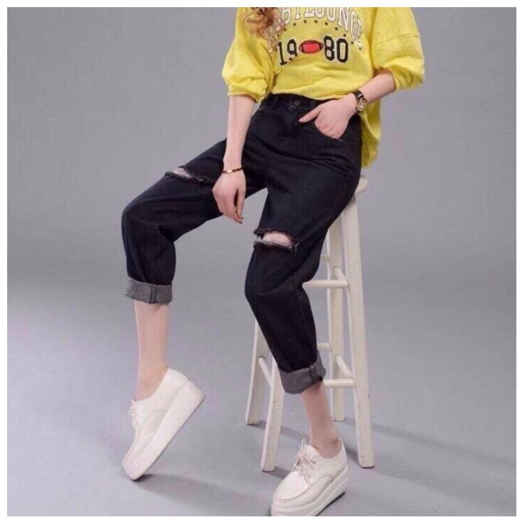 Quần Baggy nữ rách gối thời trang LyLyFashion Ms217 (đen)