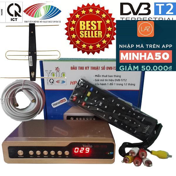 Đầu thu kỹ thuật số SET TOP BOX DVB-T2/HP-1115 kèm bộ anten có mạch khuếch đại, dây và jack nối