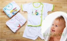 Set 5 bộ quần áo bác sĩ tay ngắn Bosini màu trắng cho bé từ 0-12 tháng