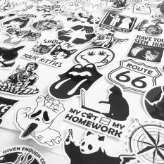 Sticker Trắng Đen – Gói 100 miếng dán