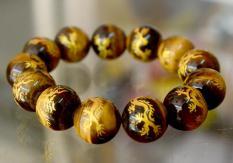 Vòng tay chuỗi đá mắt hổ khắc hình Rồng Vàng-Có nhiều cỡ ly-10ly-12ly-14ly-16ly