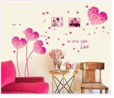 """Decal Dán Tường Trang Trí """"Pink Heart"""""""
