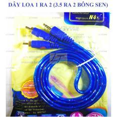 Dây cáp loa 1 đầu 3.5 ra 2 đầu hoa sen AV dài 1M chống nhiễu (dây loa 1 ra 2)
