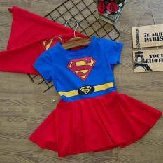 Đầm bé gái in hình siêu nhân Superman màu đỏ