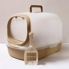 Nhà vệ sinh cho mèo Ag+ có nắp che xinh xắn màu nâu socola