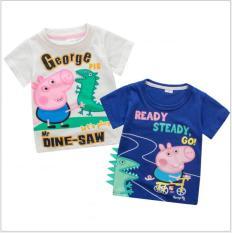 Combo 2 Áo phông hình tầu hỏa, hình xe ô tô ngộ nghĩnh cho bé trai, áo thun hình mèo Doremon, lợn con Peppa Pig đáng yêu cho bé gái TE 8501Z