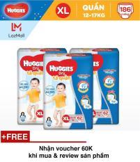 Bộ 3 tã quần Huggies Super Jumbo XL62 (Đệm mây co giãn) – Gói 62 miếng (Cho bé 12kg – 17kg