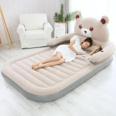 Bộ sản phẩm giường hơi hình gấu (1m5 Xám) Tặng kèm bơm điện, gối, bịt mắt, bịt tai, keo và miếng vá