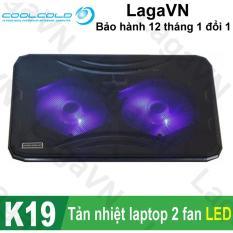 Đế tản nhiệt laptop COOLCOLD Thin Ice K19 2 quạt (Đen)