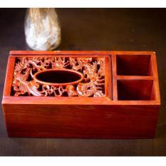 Hộp đựng giấy ăn chữ nhật bằng gỗ điêu khắc cao cấp 3 ngăn