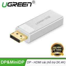 Đầu chuyển đổi Displayport sang HDMI cái, hỗ trợ 2K*4K UGREEN DP108 20413 – Hãng phân phối chính thức