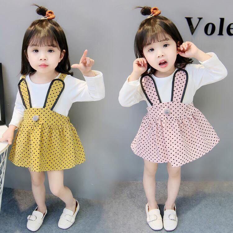 váy bé gái thỏ 3 màu siêu chất da cá