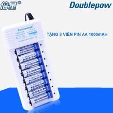 Bộ sạc pin 8 khe đa năng Tặng 8 viên pin sạc AA 1000 mAh Doublepow – hàng nhập khẩu