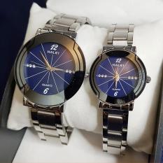 Cặp Đồng hồ nam nữ halei 590 mặt xanh