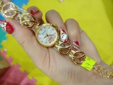 Đồng hồ Nữ Halei dây thép thời thượng TẶNG 1 vòng tỳ hưu phong thủy – Dây vàng mặt trắng