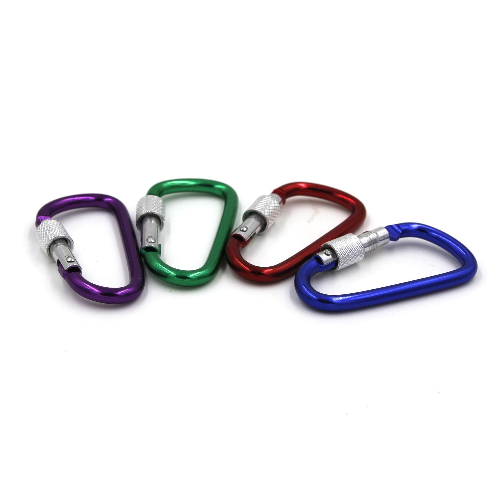 01 Móc khóa nhôm cao cấp có khóa an toàn (Màu sắc ngẫu nhiên)