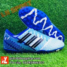 Giày đá bóng giày đá banh sân cỏ nhân tạo NEMEZIZ MESSI xanh trắng siêu đẹp, siêu bền, đã khâu mũi chắc chắn