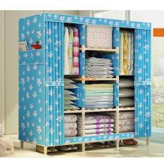 Tủ vải quần áo khung gỗ 3 buồng 8 ngăn – Kmart