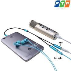 Dây chia ra 1 tai nghe và 1 mic 4 khấc mạ vàng cao cấp FTP chuyên dụng karaoke, live stream