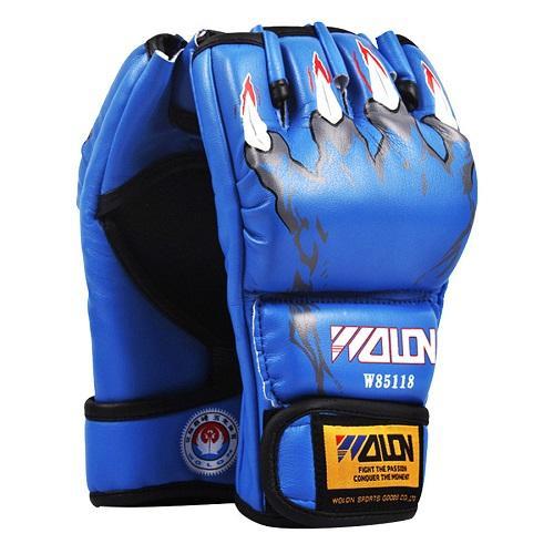 Găng tay đấm boxing hở ngón MMA Wolon (xanh)