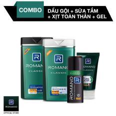 Combo Romano Classic Dầu gội 180g + Xịt khử mùi 150ml + Gel Vuốt Tóc 150g
