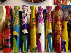 Bộ 2 Lọ ( bình ) cắm hoa loại cao 30cm ( + TẶNG 1 móc khóa gỗ di lạc ) MIỄN SHIP, gỗ phủ sơn mài cao cấp
