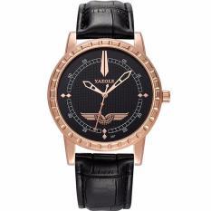 Đồng hồ nam YAZOLE YZ6359 dây da cao cấp ( Mặt đen kim vàng )