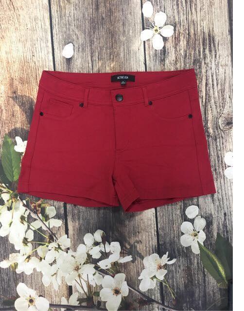 Quần soóc nữ shorts Jean Skinny Active USA màu đỏ