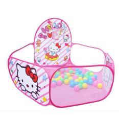 nhà bóng kèm 100 bóng hình mèo hồng cho bé