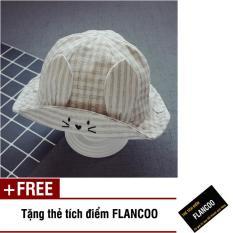 Nón vành hình thỏ vải cotton thời trang bé gái Flancoo 1731 (Xám) + Tặng kèm thẻ tích điểm Flancoo