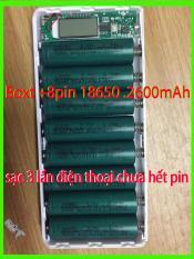sạc dự phòng- Bộ com bô Box sạc dự phòng 8 khe pin + 8 pin 18650 2600mAh