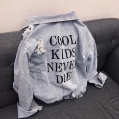 Áo Khoác Jeans Nữ In Cool KIDS Bo Thun Lai Áo