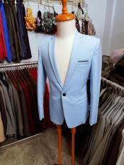 Bộ vest nam form ôm body màu xanh biển (áo+quần+cà vạt+nơ)