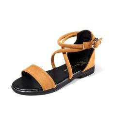 [SD-0068] Giày sandal nhung ngang dây chéo cổ chân (Bảo hành 12 tháng) – Dép Sandal nữ đế bệt quai chéo – Dép quai hậu nữ da nhung cao cấp- Dép sandal nữ đi học- Có 3 màu xám, đen, bò