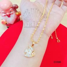 Dây chuyền mạ vàng dạng xoắn mặt hình cá đính đá thời trang Orin D3596