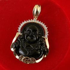 Mặt dây chuyền phong thủy tạc Phật Di Lặc ngọc đen MK59