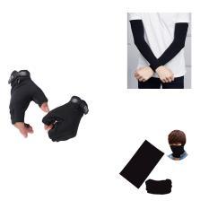 Combo phượt 3 món full đen (găng tay tự chọn (5.11cụt, dài/Blackhawk/Oakley/Probiker)+ ống tay chống nắng+ khăn đa năng)