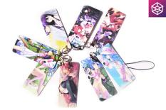Xâu móc khóa, đeo điện thoại hình thẻ anime, 8 chiếc 1 xâu, nhựa mỏng, nhẹ