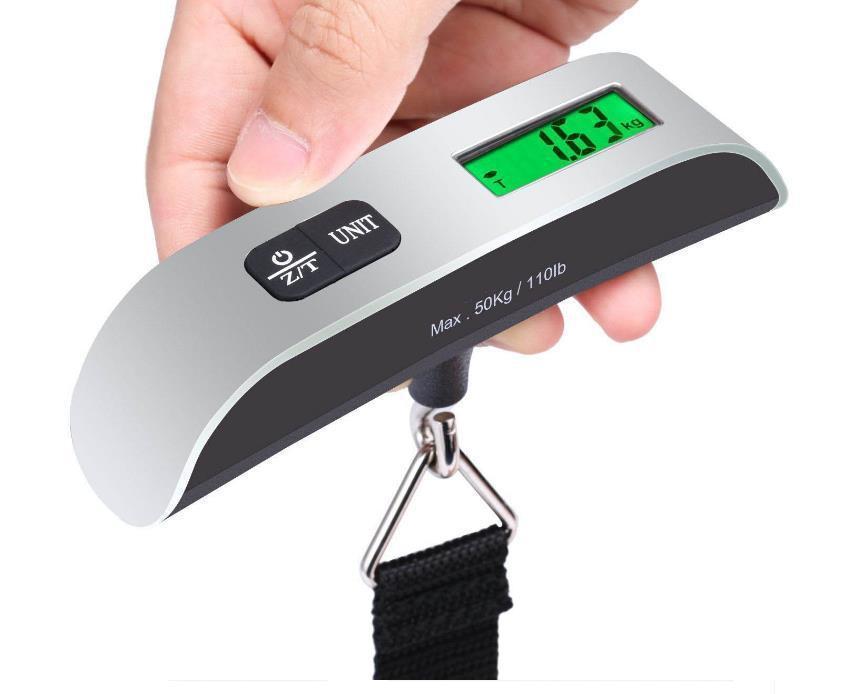 Cân điện tử cầm tay, cân hành lý sân bay, cân du lịch K-8 + pin (Max 50kg) có đo...