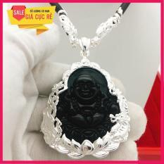 Mặt Phật Di Lạc đá thạch anh cao cấp (đen) + tặng dây cao su charm bạc