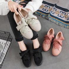 giày thể thao da lộn thắt nơnơ đen