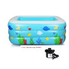 Bể bơi bơm hơi Chữ nhật sắc màu kích thước : 150 cm tặng kèm bơm điện
